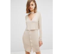 Overlay-Kleid mit Kragen Cremeweiß