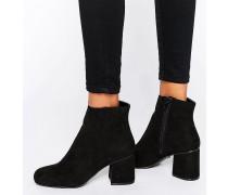Peeptoe-Stiefel mit Absatz Schwarz