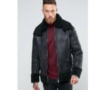 Schwarze Oversize-Jacke mit Kunstfell Schwarz
