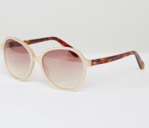 Glamour Runde, hochwertige Oversize-Sonnenbrille Cremeweiß
