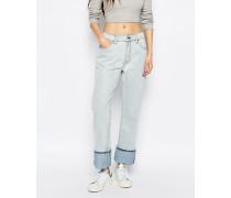 Locker geschnittene Unisex-Jeans mit mittelhohem Bund Blau