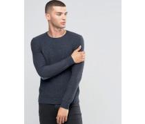 Pullover mit Rundhalsausschnitt und Ellbogenflicken Grau