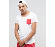 Strand-T-Shirt mit U-Ausschnitt und Tasche, Kombiteil Weiß
