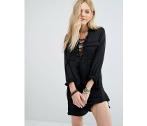 Langärmliges, geschnürtes Utility-Kleid aus Satin Schwarz