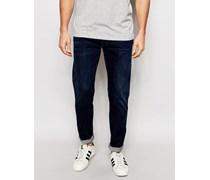 Anbass Schmale Stretch-Jeans in dunkel-indigoblauer Waschung Blau