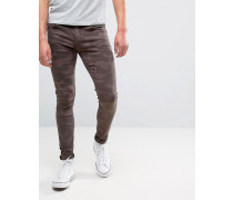Brooklyn Supply Co Superenge Skinny-Jeans mit braunem Tarnmuster Braun
