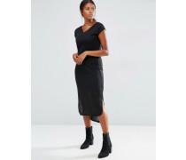 Geripptes, kurzärmliges Jersey-Kleid Schwarz