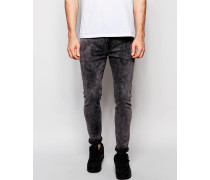Superenge Jeans in grauer Acid-Waschung Grau