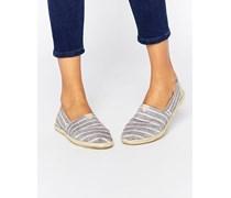 Klassische, gestreifte, flache Schuhe in Braun mit Streifenmuster Mehrfarbig