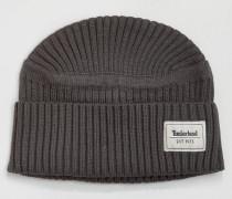 Mütze aus Rippenstrick Grau