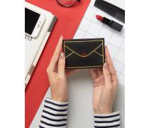 Kartenhalter aus Leder im Briefumschlagdesign Schwarz
