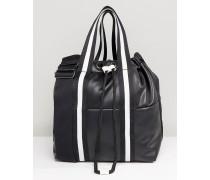 Contrast Drawstring Bucket Bag Schwarz