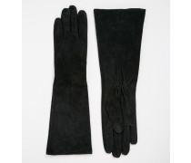 Lange Wildlederhandschuhe Schwarz