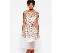 Wedding Kleid mit aufgestickten Rosen Mehrfarbig