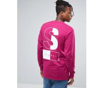 Langärmliges Shirt mit zweifarbigem Print auf der Rückseite Rosa