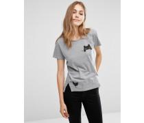 T-Shirt aus Bio-Baumwolle mit aufgedruckter Tasche, Katzen- und Vogelmotiv Grau