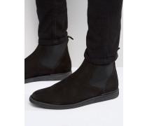 Chelsea-Boots aus Nubuckleder Schwarz