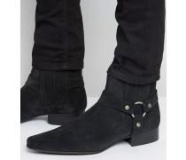 Spitze Chelsea-Stiefel aus schwarzem Wildleder mit Metalldetail Schwarz