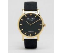 Uhr mit Armband aus schwarzem Wildleder Schwarz