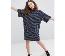Gestreiftes T-Shirt-Kleid in Oversize mit Tasche Marineblau