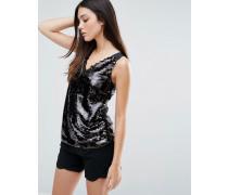 Pullover mit V-Ausschnitt und Pailletten Schwarz