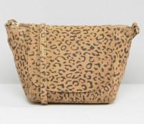 Umhängetasche aus Wildleder mit Leopardenprint Mehrfarbig