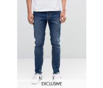 Brooklyn Supply Co Enge Dumbo-Jeans in Vintage-Waschung mit unbearbeitetem Saum Blau