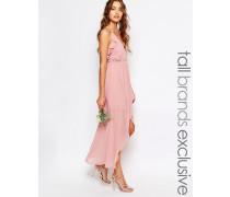 Gewickeltes Trägerkleid mit Rüschen Rosa