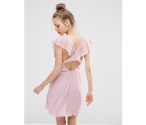 Weiches Spitzen-Minikleid mit tiefem Ausschnitt und Rüschen Rosa