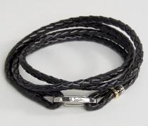 Wickelarmband aus Leder in Schwarz Schwarz