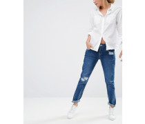 Boyfriend-Jeans im Distressed-Look Blau