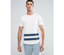 Baseball-T-Shirt mit Tasche und gerundetem Saum Weiß