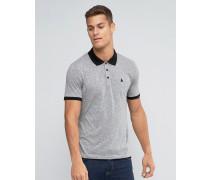 Strukturiertes Muskel-Poloshirt mit Logo, grau Grau