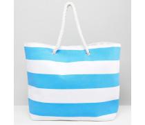 Leuchtend blau gestreifte Strandtasche Blau