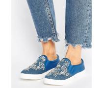 Verzierte Jeansschuhe zum Hineinschlüpfen Blau