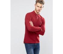 Langärmliges Muskel-Polohemd Rot