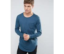 Lang geschnittenes Langarmshirt mit Tasche Blau