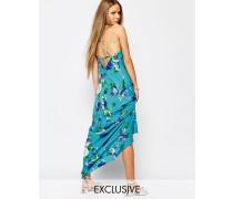Langes Trägerkleid mit Schnürung hinten und Blumenmuster Blau