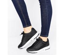 Einfarbige Sneaker mit Kontrastsohle Schwarz