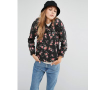 Sweatshirt mit Rundhalsausschnitt und Blumenmuster Schwarz