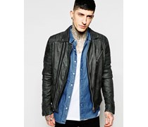Biker-Jacke aus Leder Schwarz