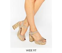 New Look Wildleder-Sandale mit Korksohle in breiter Passform Steingrau
