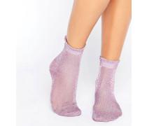 Sheer Glitter Gerüschte Socken Violett