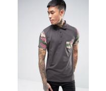 Schwarzes Polohemd mit Camouflage-Ärmeln Schwarz