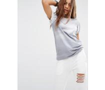 Oversize-Boyfriend-T-Shirt mit Logo vorne Grau
