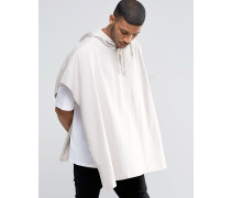 Oversize-T-Shirt mit Kapuze und Cape, gebrochenes Weiß Weiß