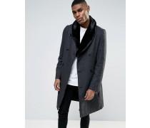 Mantel mit Pelzkragen Grau