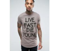 T-Shirt mit verwaschenem Grafikdruck Grau
