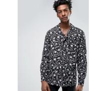 Schmales Hemd mit Revers-Kragen und Feder-Print Schwarz