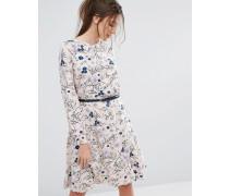 Closet Langärmliges, geblümtes Kleid mit Gürtel Mehrfarbig